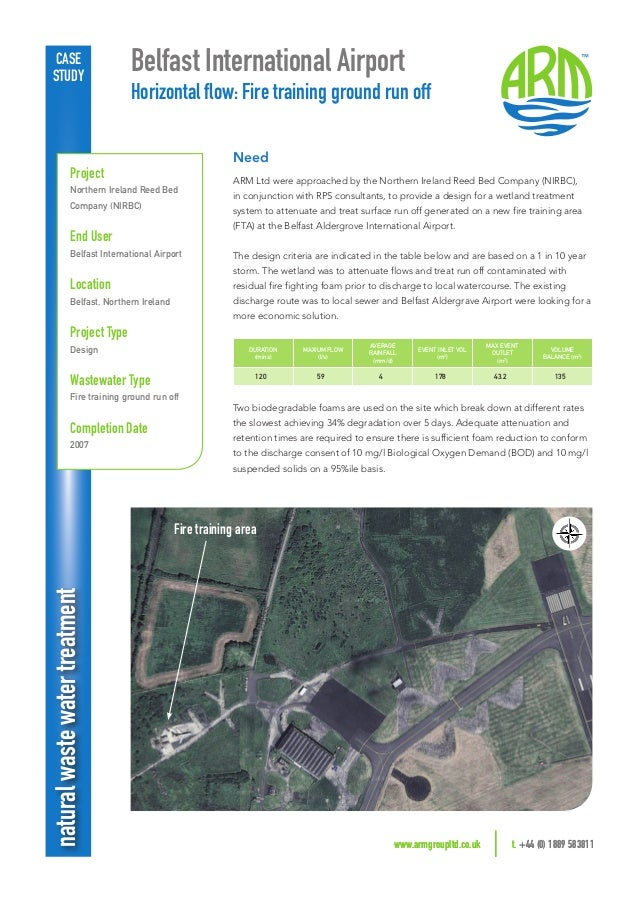 www.armgroupltd.co.uk t. +44 (0) 1889 583811 naturalwastewatertreatment Belfast International Airport Horizontal flow: Fi...