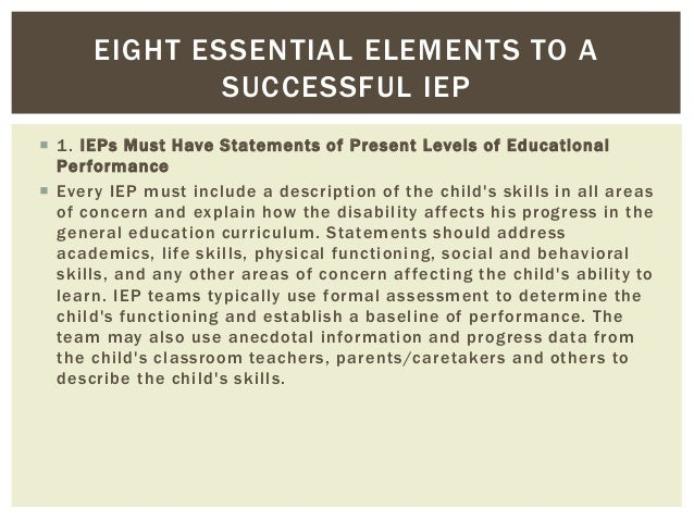 The Three Essential Parts Of Iep Goal >> Writing An Iep