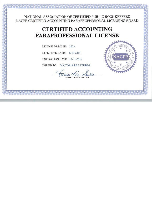 NATIONAL ASSOCIATION OF CERTIFIED PUBLIC BOOKKEEPERS NACPB CERTIFIED ACCOUNTING PARAPROFESSIONAL LICENSING BOARD CERTIFIED...