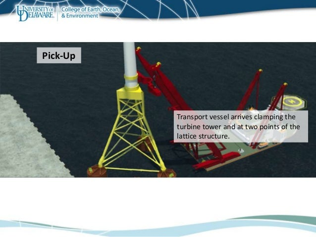 Transport vessel arrives clamping the turbine tower and at two points of the lattice structure. Pick-Up