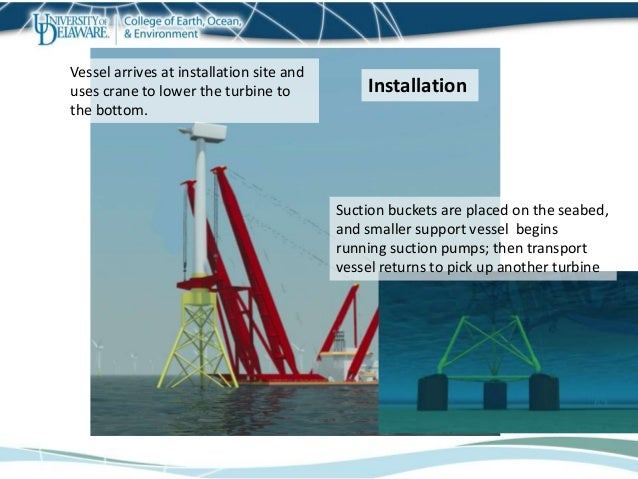 Vessel arrives at installation site and uses crane to lower the turbine to the bottom. Suction buckets are placed on the s...