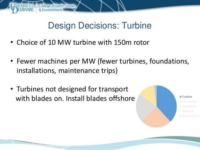 Design Decisions: Turbine • Choice of 10 MW turbine with 150m rotor • Fewer machines per MW (fewer turbines, foundations, ...