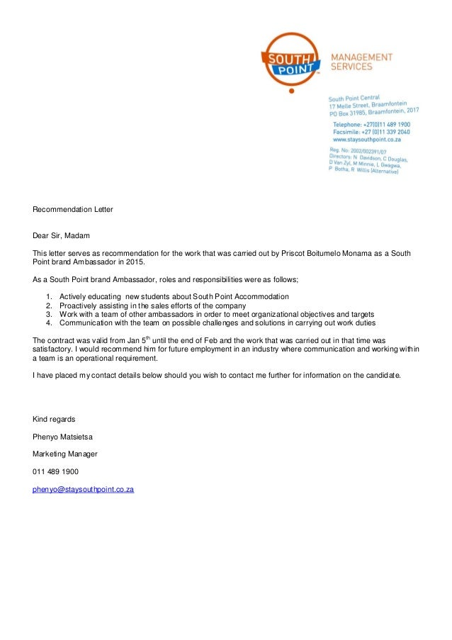 South Point Accommodation Recommendation Letter