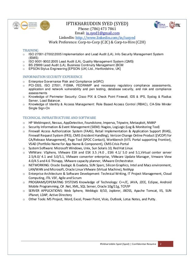 information security consultant resume
