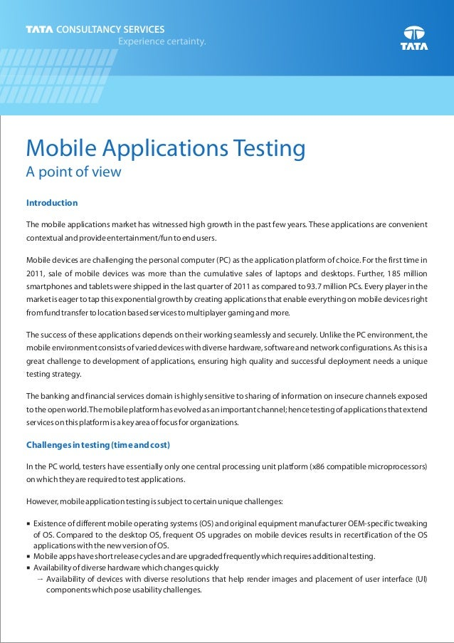 Mobile Applications Testing A point of view Introduction Challengesintesting(timeandcost) The mobile applications market h...