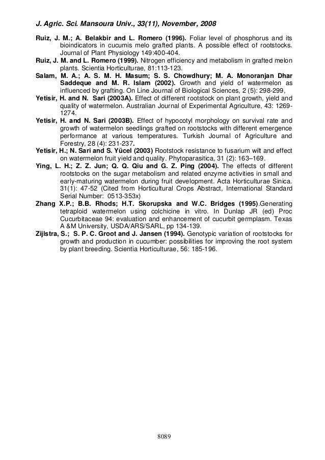 J. Agric. Sci. Mansoura Univ., 33(11), November, 2008 8089 Ruiz, J. M.; A. Belakbir and L. Romero (1996). Foliar level of ...