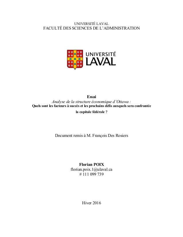 UNIVERSITÉ LAVAL FACULTÉ DES SCIENCES DE L'ADMINISTRATION Essai Analyse de la structure économique d'Ottawa : Quels sont l...