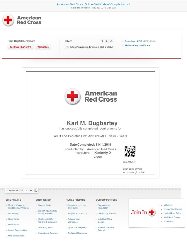 American Red Cross Online Certificate of Completion