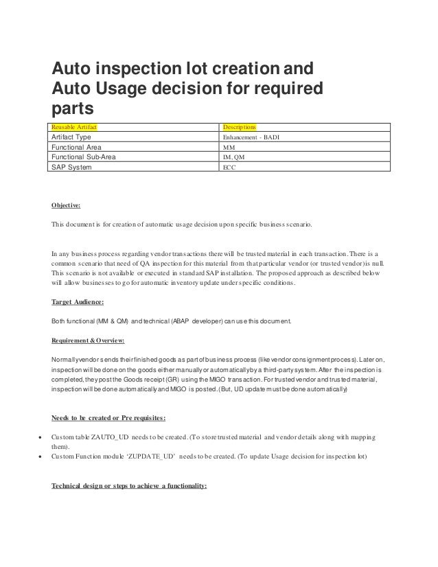 Auto inspection lot creation and Auto Usage decision for required parts Reusable Artifact Descriptions Artifact Type Enhan...