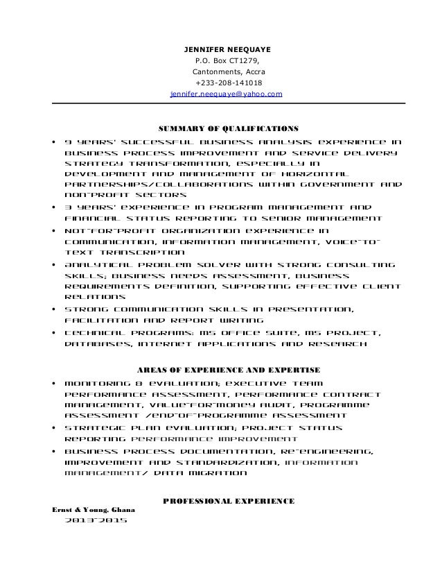 J neequaye resume ey consultant penultimate ver 06182015 for Ernst and young resume sample