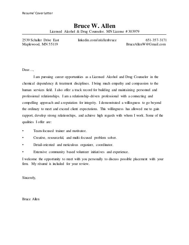 Cover Letter For Counselling Placement