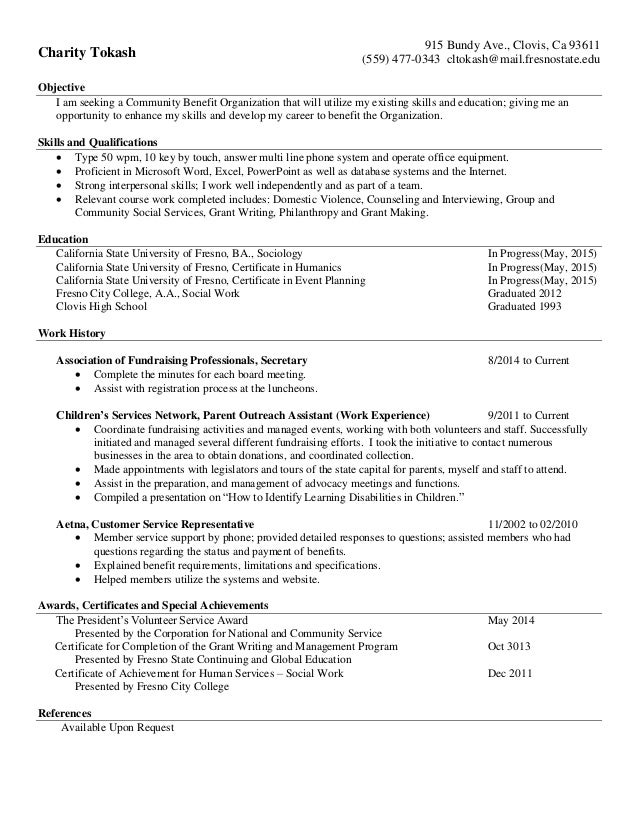 Resume for Charity Tokash