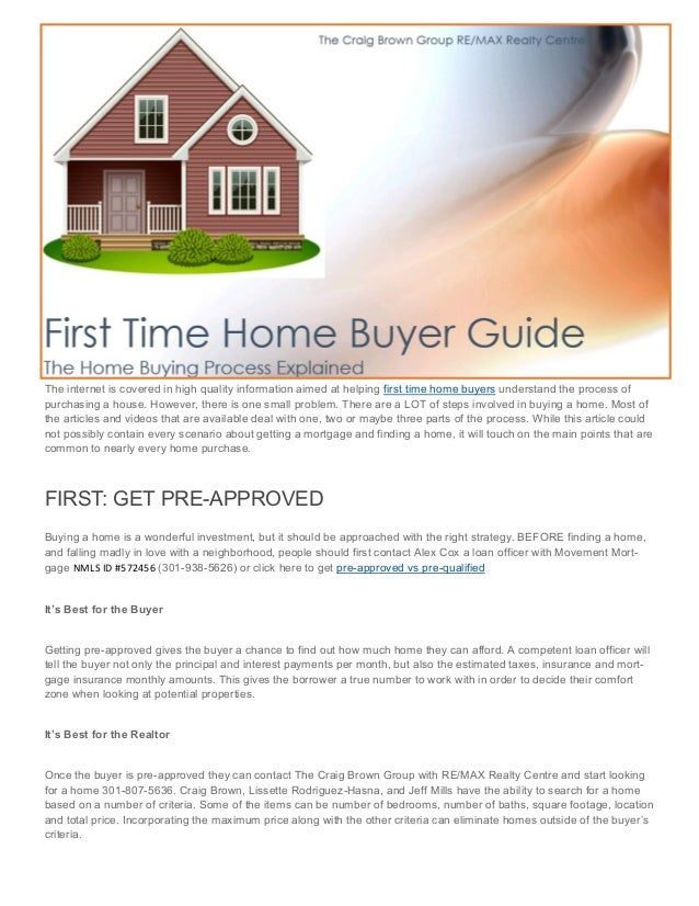 First Time Home Buyer Guide Craig Brown Group