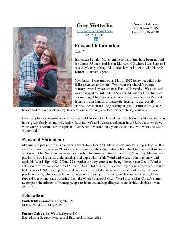 Pastoral Resume. Greg Wetterlin Greg.wetterlin@gmail.com 720.331.1035  Current Address: 716 ...  Pastoral Resume