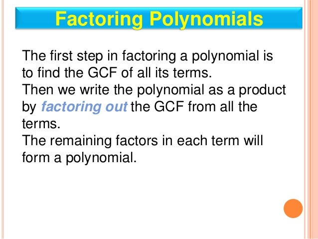 Factor Trinomials by GCF