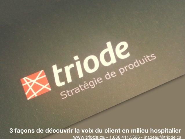 3 façons de découvrir la voix du client en milieu hospitalier  www.triode.ca - 1.888.411.5566 - jnadeauf@triode.ca