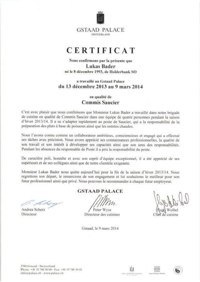 Certificat de travail Gstaad Palace
