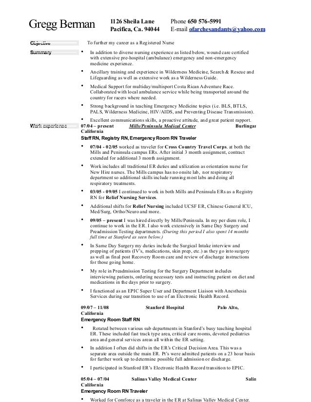 Emergency Room Nurse Job Description Resume  Er Nurse Resume