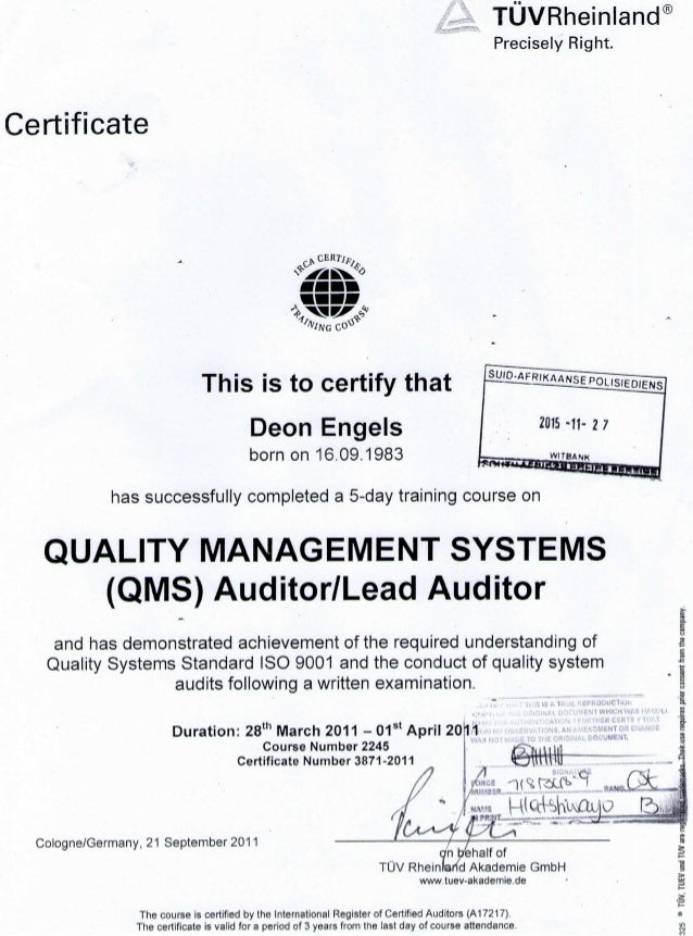TUV ISO 9001 & OHS 18001