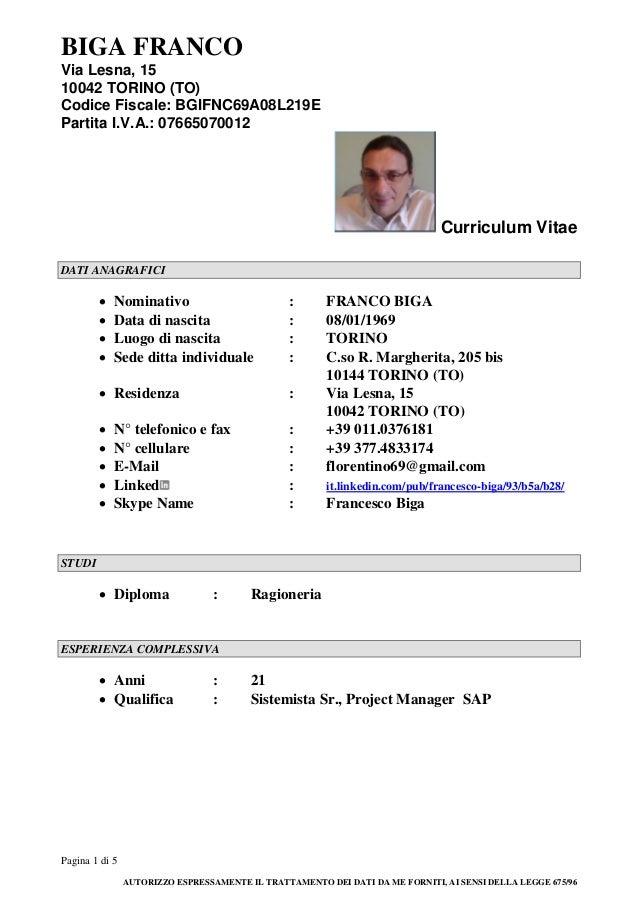 curriculum vitae legge sulla privacy 675 96