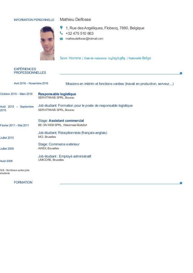 INFORMATION PERSONNELLE Mathieu Delfosse 1, Rue des Angéliques, Flobecq, 7880, Belgique +32 475 510 663 mathieudelfosse@ho...