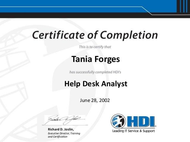 HDI - Help Desk Analyst Certification