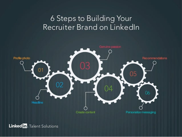 6 Steps to Building Your Recruiter Brand on LinkedIn Profile photo Genuine passion Recommendations Personalize messagingCr...