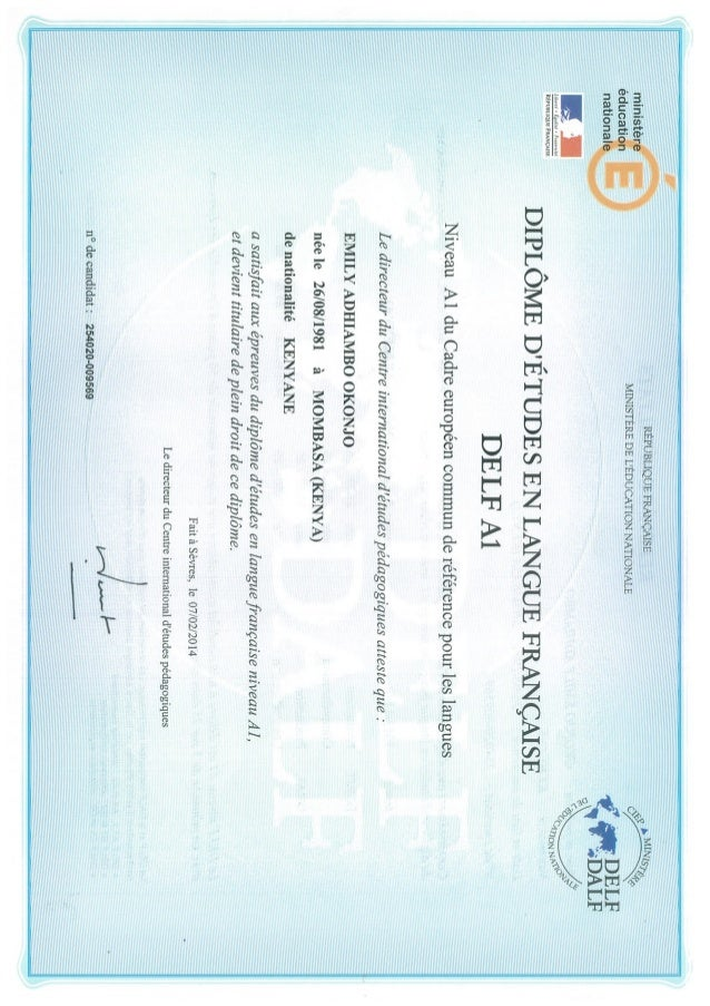 DELF A1 French certificate