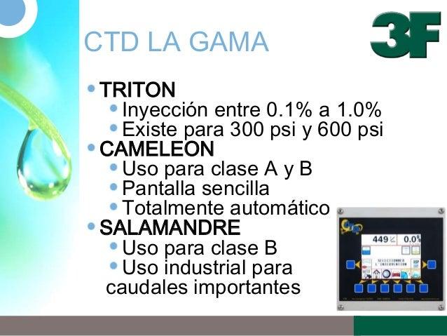 CTD LA GAMATRITONInyección entre 0.1% a 1.0%Existe para 300 psi y 600 psiCAMELEONUso para clase A y BPantalla sencillaTota...