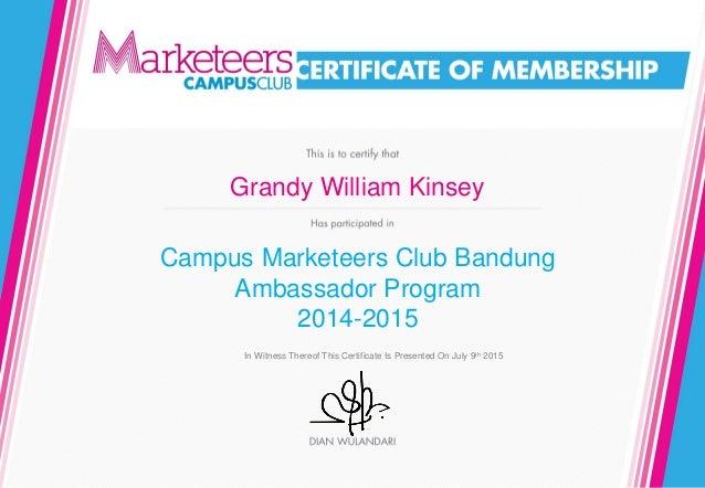 e-Certificate Grandy CMC Ambassador
