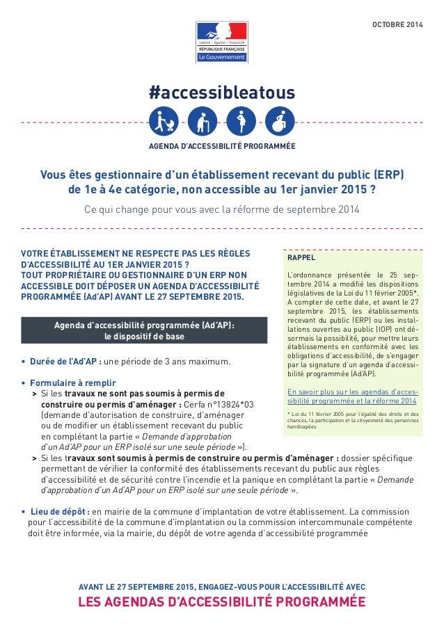 #accessibleatous AGENDA D'ACCESSIBILITÉ PROGRAMMÉE AVANT LE 27 SEPTEMBRE 2015, ENGAGEZ-VOUS POUR L'ACCESSIBILITÉ AVEC LES ...