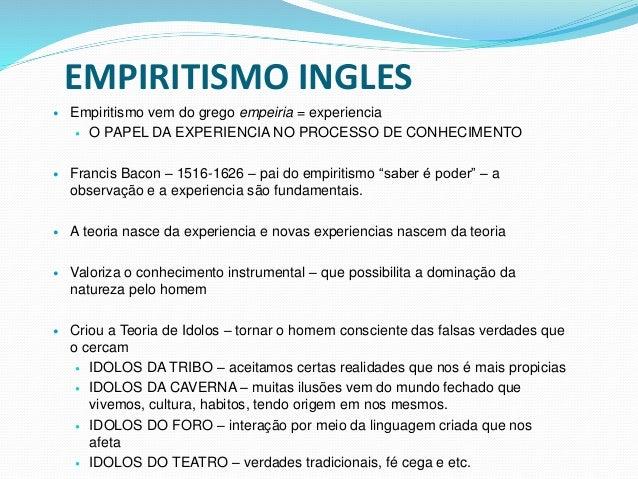 EMPIRITISMO INGLES  Empiritismo vem do grego empeiria = experiencia  O PAPEL DA EXPERIENCIA NO PROCESSO DE CONHECIMENTO ...