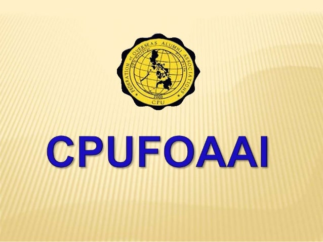 CPUFOAAI President and Treasurer's Report September 2012 – December 2014