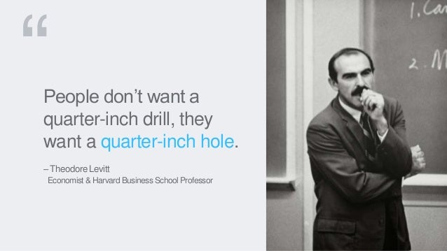 People don't want a quarter-inch drill, they want a quarter-inch hole. – Theodore Levitt Economist & Harvard Business Scho...