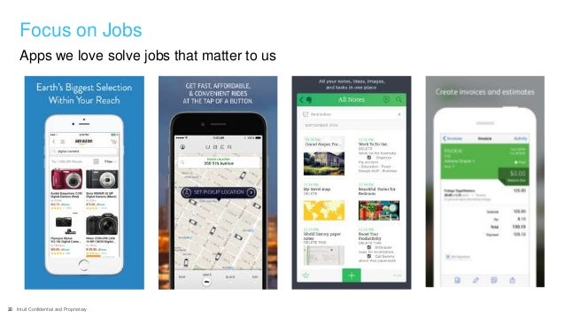 20 Intuit Confidential and Proprietary Apps we love solve jobs that matter to us Focus on Jobs