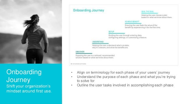 Onboarding Journey Shift your organization's mindset around first use. • Align on terminology for each phase of your users...