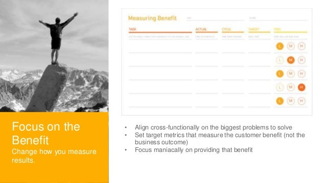 • Align cross-functionally on the biggest problems to solve • Set target metrics that measure the customer benefit (not th...