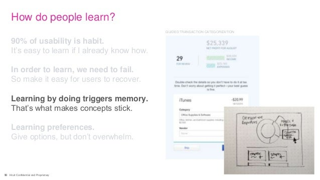 50 Intuit Confidential and Proprietary How do people learn? 90% of usability is habit. It's easy to learn if I already kno...