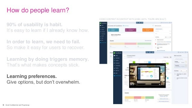 51 Intuit Confidential and Proprietary How do people learn? 90% of usability is habit. It's easy to learn if I already kno...