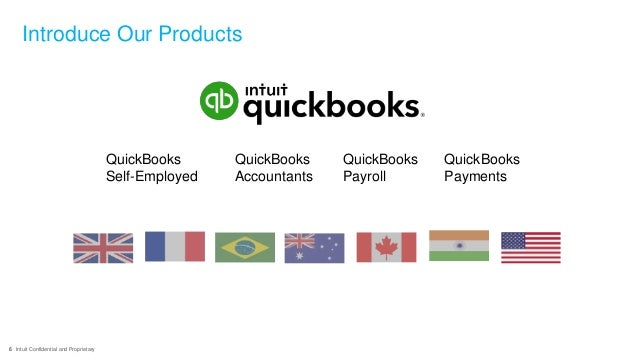 6 Intuit Confidential and Proprietary Introduce Our Products QuickBooks Self-Employed QuickBooks Accountants QuickBooks Pa...