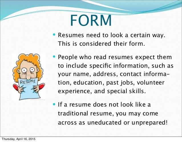 3 fs of resume writing prsnt
