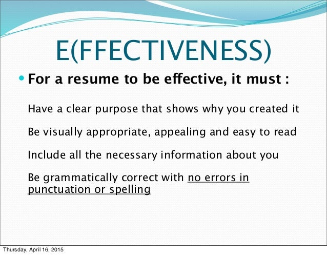 3 fs of resume writing prsnt