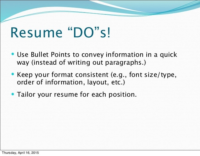 3 f's of resume writing prsnt