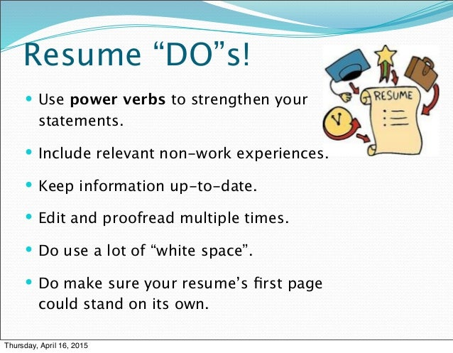 3 f\'s of resume writing prsnt