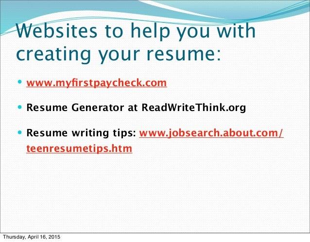 read write think resume generator