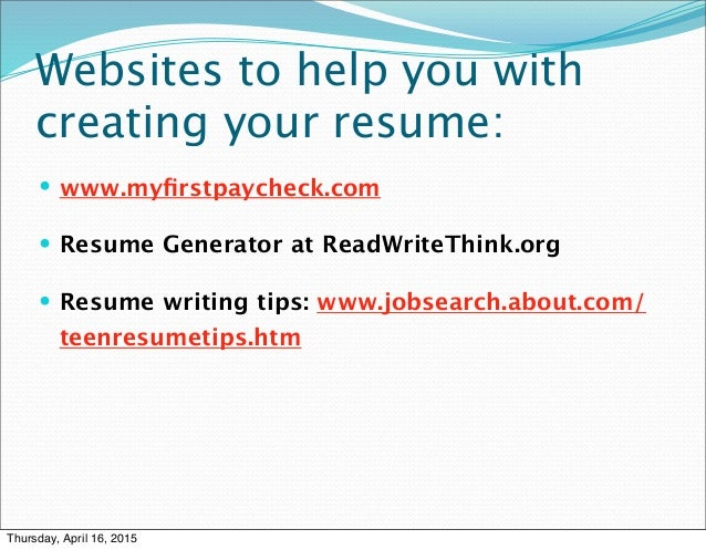 SlideShare  Read Write Think Resume Generator