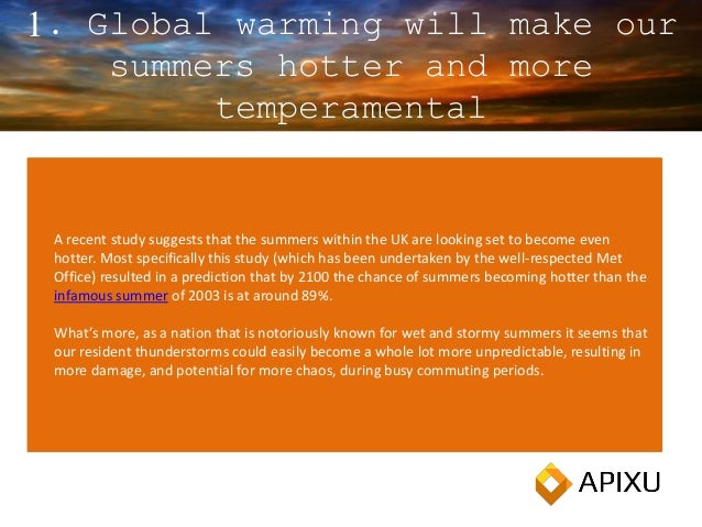 1. Global warming will make our summers hotter and more temperamental A recent study suggests that the summers within the ...