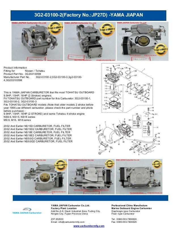 3G2-03100-2(Factory No.:JP27D) -YAMA JIAPAN www.carburetormfg.com YAMA JIAPAN Carburetor Co.,Ltd. Professional China Manuf...