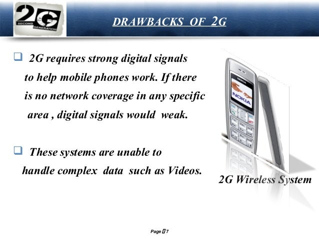 LOGO  DRAWBACKS OF 2G   2G requires strong digital signals to help mobile phones work. If there is no network coverage in...
