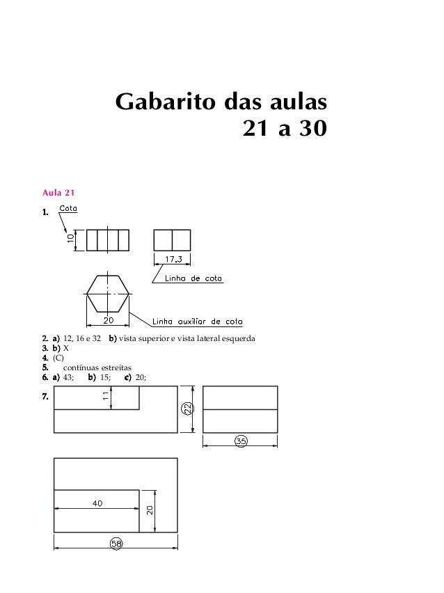 Aula 21  1.  Gabarito das aulas  21 a 30  2. a) 12, 16 e 32 b) vista superior e vista lateral esquerda  3. b) X  4. (C)  5...